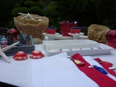 Fun nautical, patriotic table for Father's Day or 4th of July