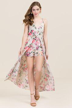 Clothes for Spring, Ciera Floral Maxi Romper at Francesca's