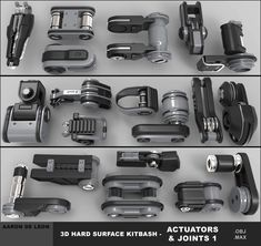 3d Hard Surface Kitbash - Actuators and Joints