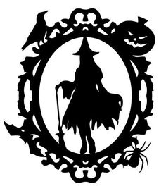 6 HALLOWEEN STANDING FRAMED WITCH SILHOUETTE DIE CUT EMBELLISHMENT #Unbranded