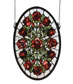 Burgundy roses with Willow Green leaves radiate around a single rose against a Crystalline sky in the resplendent oval shaped window. Handcrafted with stained art glass utilizing the copperfoil constr