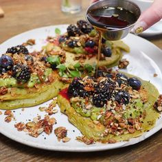 Wake up call !! Summer squash pancakes served with sweet avocado nut brittle and blueberries! | #hangrydiarysweet @BondiHarvest_USA 1814 Berkeley St Santa Monica CA 90404 Sweet Summer Squash Pancakes 10   Follow us on Snapchat: hangrydiary Tag your friends