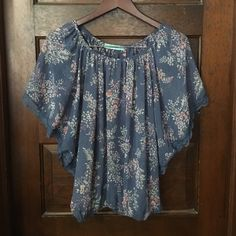 Sheer Blue Blouse Sheer blue floral blouse with lace Pleione Tops Blouses