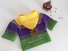 ÇOCUKLARA 3 YAŞA UYGUN KAPÜŞONLU HIRKA YAPIMI | Nazarca.com Crotchet Patterns, Baby Knitting Patterns, Diy And Crafts, Pullover, Clothes, Fashion, Mesh, Crochet Baby Clothes, Baby Knitting