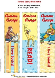 These Curious George bookmarks are perfect for your young reader! Curious George Party, Curious George Crafts, Curious George Birthday, 2 Year Old Birthday, 4th Birthday Parties, Boy Birthday, Birthday Ideas, Bookmark Printing, Book Themes