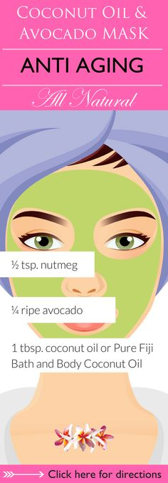 Avocado and coconut oil both work to hydrate and nourish your skin, protecting it from premature aging and leaving you with soft, supple skin. Avocado also protects against free radicals, slowing down the aging process of the skin. Click here to learn 6 DIY coconut oil face mask recipes for you to try that are sure to leave your skin soft, supple and radiant http://www.purefiji.com/blog/coconut-oil-face-masks/ | Anti Aging