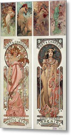 Art Nouveau Illustration, Art Nouveau Poster, Art Nouveau Design, Alphonse Mucha Art, Portraits, Thing 1, Fractal Art, Fractals, Collage Art
