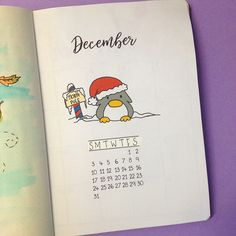 The penguin is back and my bullet journal is all set up for December! You can see all the spreads I've created for this month in my website. I've also created a FREE printable for you of my mood tracker. You can find it in the Resources Library, once you subscribe to my Newsletter You can get all the Penguin Calendar for 2018 in my Etsy shop.