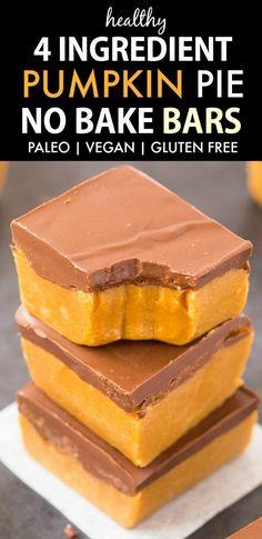 Healthy 4 Ingredient No Bake Pumpkin Pie Bars (Paleo, Vegan, Gluten Free)