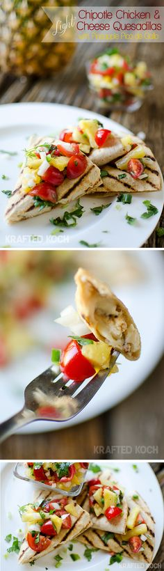 Chipotle Chicken & Cheese Quesadillas with Pineapple Pico de Gallo are a light and fresh meal that is on the table in less than 30 minutes! Healthy Cooking, Cooking Recipes, Healthy Recipes, Healthy Meals, Spicy Recipes, Healthy Options, Healthy Food, Healthy Eating, Quesadillas
