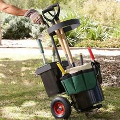 Portable Garden Tool Trolley with Tool Organiser and Buckets