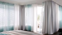 sheer curtains, white, and hint of teal, thicker silver