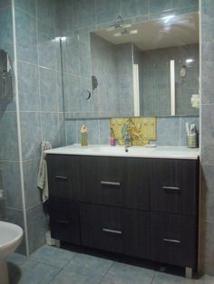 baño, con mueble, espejo