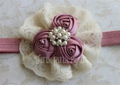 Satin Rolled Rosette Headband in Rose and Ivory Bow Hairband, Rosette Headband, Vintage Hair Pieces, Baby Bows, Baby Headbands, Bridal Brooch Bouquet, Girls Hair Accessories, Diy For Girls, Ribbon Bows