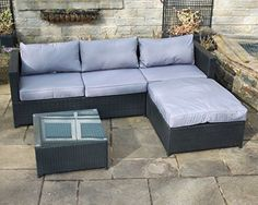 Rattan Outdoor 4 Seat Corner Sofa Patio Garden Furniture in Black Price Β£179