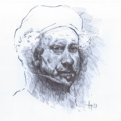""""""" small ink sketch of another fav artist, Rembrandt. Rembrandt, Sketches, Portrait, Drawings, Artist, Painting, Headshot Photography, Artists, Painting Art"""