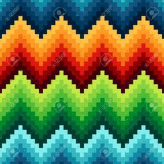 Seamless Pixelated Chevron Pattern Royalty Free Cliparts, Vectors, And Stock Illustration. Broderie Bargello, Bargello Needlepoint, Bargello Quilts, Graph Paper Drawings, Graph Paper Art, Cross Stitch Designs, Cross Stitch Patterns, Bargello Patterns, Loom Patterns