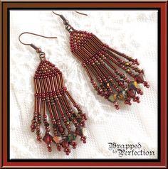 Red Copper Padparadscha Seed Bead Fringe Earrings / Swarovski / Beadweaving / Chandelier Dangle  BOHO