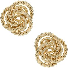Gold Rope Knot Stud Earrings found on Polyvore
