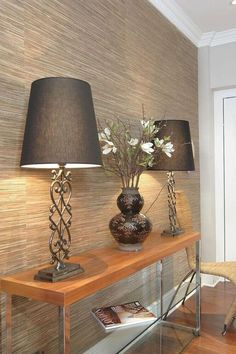 Textured wallpaper accent wall entryway foyers ideas for 2019 Feature Wall Bedroom, Accent Walls In Living Room, Accent Wall Bedroom, Living Room Decor, Feature Walls, Wallpaper Accent Wall Bathroom, Hallway Wallpaper, Bedroom Wallpaper, Wallpaper For Living Room