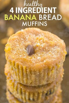 Healthy FOUR Ingredient Banana Bread Muffins- Moist, gooey yet incredibly tender, these 4 ingredient muffins have no butter, oil, white flour or sugar- The perfect recipe to use up bananas! {vegan, gluten free, paleo}