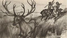 Hunor and Magor chasing the White Stag. Stag Tattoo, Extinct Animals, Folk Dance, Archery, Hungary, Mythology, Black And Grey, Moose Art, Around The Worlds