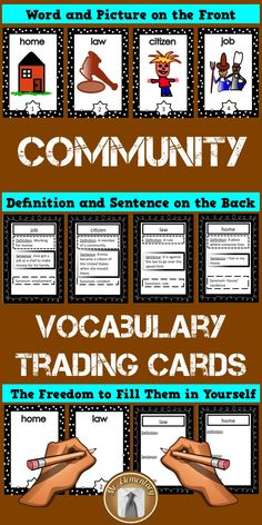 You students will have LOVE learning with this set of Community Vocabulary Trading Cards!  #Communities #Flashcards
