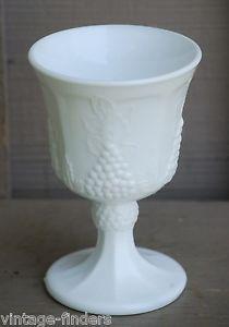Old Vintage Harvest Milk Glass Water Goblet by Colony Grape & Leaf Pattern  $5