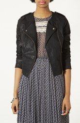 Topshop 'Mirabelle' Faux Leather Biker Jacket
