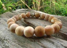 Petrified Wood & Silver Beaded Bracelet / Mala Bead Bracelet /