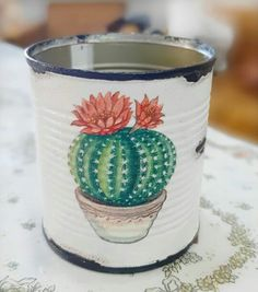 Tin Can Crafts, Arts And Crafts, Paper Crafts, Christmas Gifts To Make, Cactus Painting, Vintage Garden Decor, Small Tins, Decoupage Art, Plant Hanger