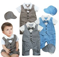 Baby Boy Formal Clothes Toddlers Tuxedo Set Smart Suit Hat Size 0 1 2 New