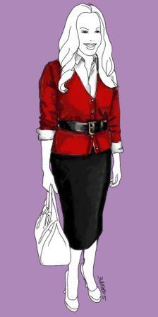 Outfit für die X-Figur: Bleistiftrock, Bluse und kürzere Strickjacke, Pumps und ein Taillen-Gürtel, der alles in Form bringt. Das Ergebnis: Schlichte, schlanke Eleganz.