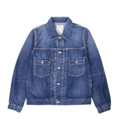 The beautiful heritage inspired SS 101 Damaged Denim Jacket. This piece is constructed from a rare, Japanese 12oz blue selvedge denim, exclusively manufactured for visvim. Premium materials, and amazing detailing throughout. Essential piece.