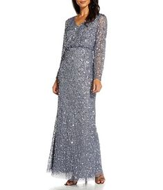 Adrianna Papell Stretch Crepe Knit Tie Waist 3/4 Sleeve Midi Sheath Dress | Dillard's Mother Of Bride Outfits, Mother Of Groom Dresses, Mother Of The Bride, Bride Dresses, Beach Dresses, Beaded Gown, Gowns With Sleeves, Formal Dresses For Women, Mermaid Gown