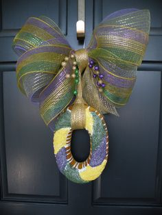 King Cake Mardi Gras Door Hanger Wreath by Daulhouseshop on Etsy, $45.00