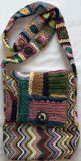 Crocheted Zig Zag & Freeform Bag