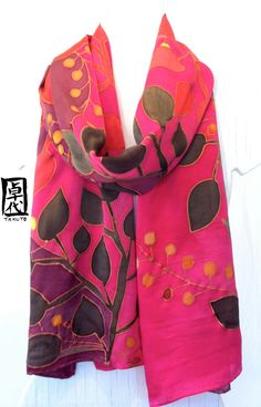 Hand Painted Silk Scarf Red Japanese Floral por SilkScarvesTakuyo, $225.00