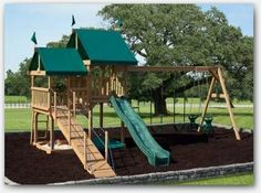 PlayMor Wooden All Aboard Playset at Wayside Lawn Structures in Ohio. Amish built wooden swingsets for your kids. Playsets in Columbiana Ohio Playground Swing Set, Backyard Swing Sets, Kids Backyard Playground, Backyard Playset, Large Backyard Landscaping, Backyard For Kids, Backyard Games, Backyard Ideas, Kids Outdoor Play