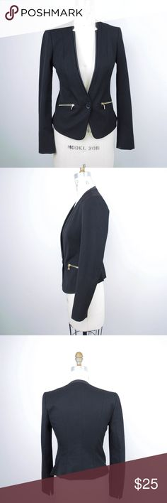 Express Blazer Jacket Zipper Faux Leather Trim Express Womens Blazer Jacket Sz 4 Black Zipper Faux Leather Trim  Single Button Description  Material: 70% polyester, 26% rayon, 4% spandex Size: 4  Measurements (in inches):  Shoulder: 14 Armpit-to-armpit: 16 Length (shoulder to hem): 22.5 Sleeve: 24.5 **All our products come from a clean and smoke-free household.** Express Jackets & Coats Blazers