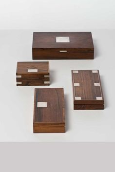 Hans Hansen; Rosewood and Silver Boxes, c1950.