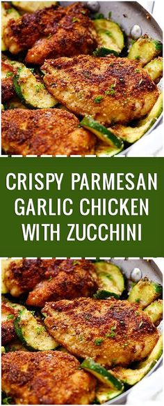 Home Made Doggy Foodstuff FAQ's And Ideas This Crispy Parmesan Garlic Chicken With Zucchini Is One Of The Best 30 Minute Meals You Will Ever Have The Flavor Is Awesome Chicken Parmesan Recipes, Best Chicken Recipes, Zucchini Parmesan, 30 Min Chicken Meals, Best Breaded Chicken Recipe, Garlic Parmesean Chicken, Healthy Garlic Chicken, Meals With Chicken Breast, Zucchini