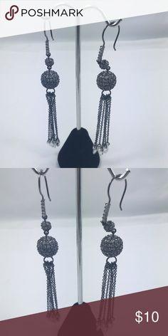 NWOT fun gun metal color plated crystal ball NWOT fun gun metal color plated crystal ball hanging earrings Jewelry Earrings