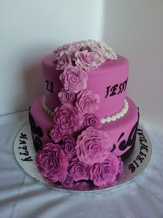 Purple Roses Special Birthday Cake