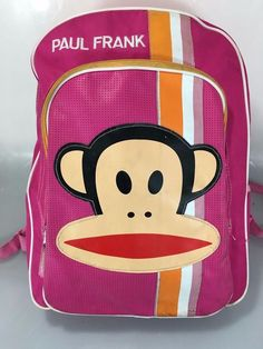 Paul Frank for Target Pink Monkey Face Backpack Full Size Kids Students…