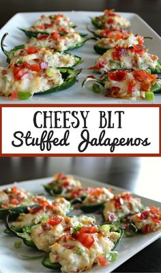 Cheesy BLT Stuffed Jalapenos. Taking jalapeno poppers to the next level with creamy cheese, bacon and tomatoes. Perfect game day food, fun party appetizer!