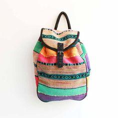 Vintage Ikat backpack  rucksack  woven  drawstring by CaesarPony, $45.00