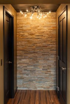 Basement black ceiling Design Ideas, Pictures, Remodel and Decor Basement Makeover, Basement Renovations, Basement Ideas, Rustic Basement, Stone Accent Walls, Basement House, Basement Stairs, My Dream Home, Home Projects