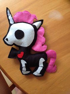Skeleton unicorn plushie by StickandOopel on Etsy