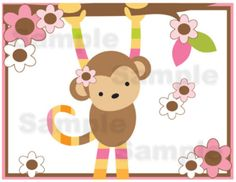 Mod Monkey Wall Border Decals for baby girl nursery or kids room jungle decor. Adorned with beautiful Pink, Brown, and Green colors #decampstudios